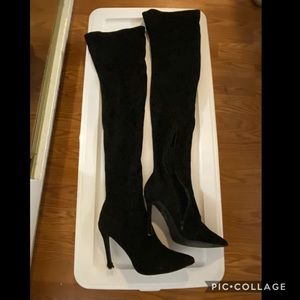 Sexy black suede over-the-knee fall boots sz 9
